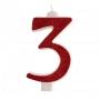 Vela brillante Roja Nº3
